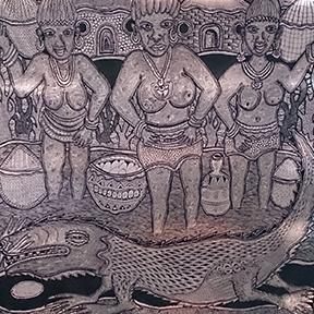 Grafik von drei Frauen, die nahe bei Schüsseln stehen