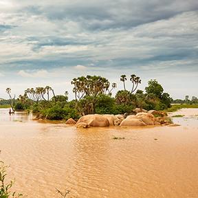 Kanu mit Fischern aus der Ferne Angeln in der Nähe einer felsigen Insel mit Palmen in der Mitte der hohen schlammigen orangen Gewässer des Niger Fluss überqueren niamey Hauptstadt von Niger unter einem bewölkten Himmel