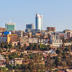 Panoramablick auf Bussiness Stadtteil von Kigali, Ruanda
