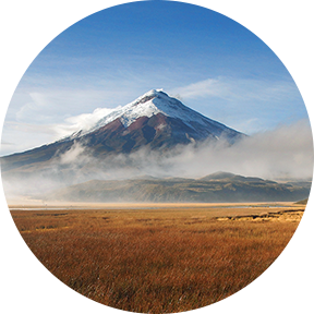 Blick auf Lagune Limpiopungo mit Vulkan Cotopaxi im Hintergrund an einem bewölkten Morgen