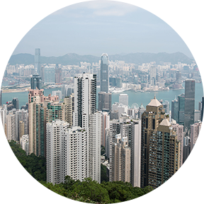 Die Hochhäuser von Hong Kong.