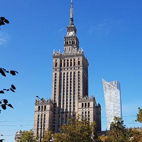 Die Hochhäuser von Warschau.