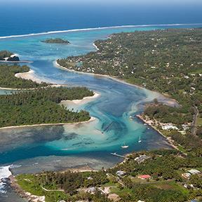 Ein Bild einer Lagune bei Muri Beach-Inseln, Rarotonga