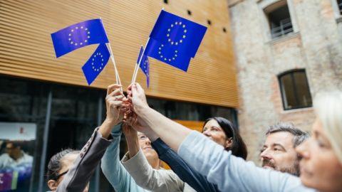 Menschen schwenken kleine EU Fähnchen. - EUN