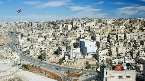 Panorama of a city in the Middle East. -