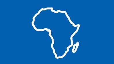 Umriss von Afrika auf blauem Hintergrund - Afrika