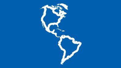 Umriss von Amerika auf blauem Hintergrund - Amerika